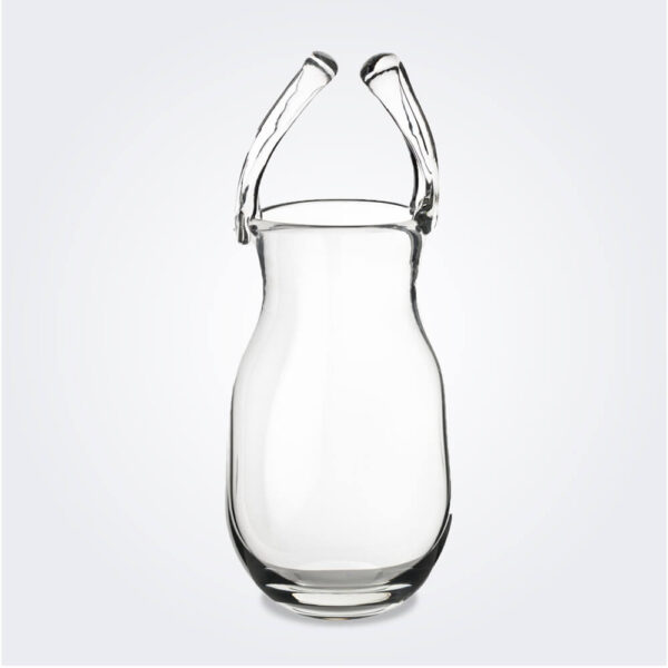 Big glass purse vase product picture.