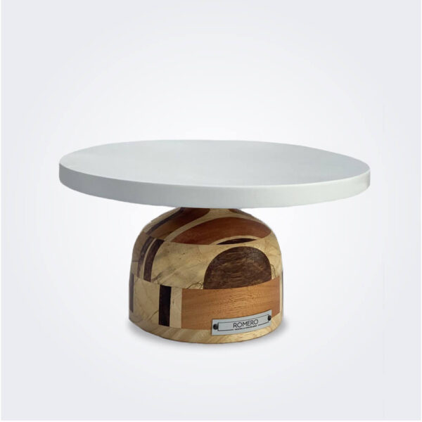 Mixed wood cake pedestal product picture.