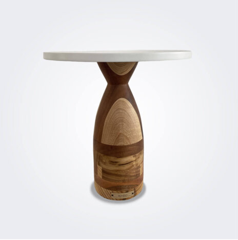 Patterned Wood Cake Pedestal (Large)