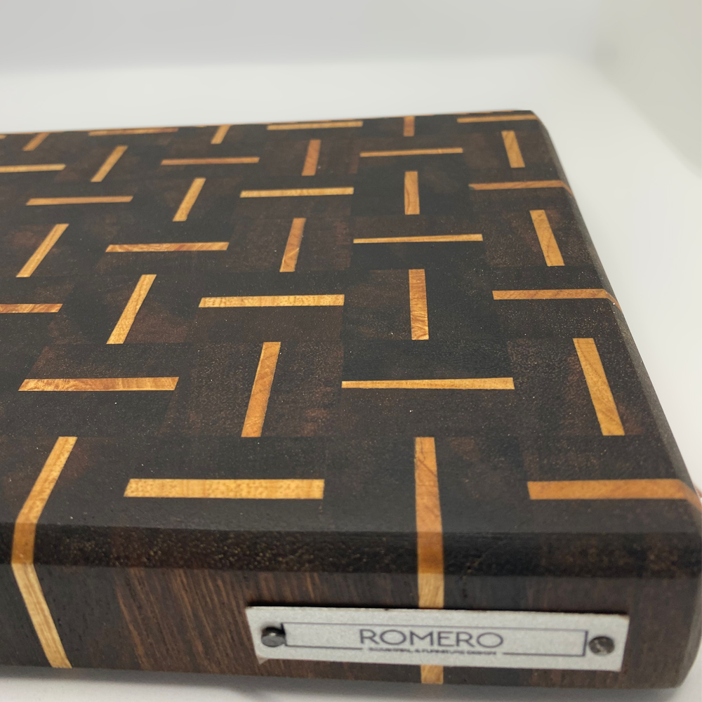 Patterned wood cutting board detail