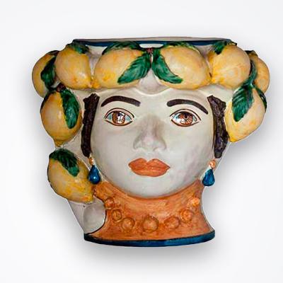 Lemon woman head vase product picture.