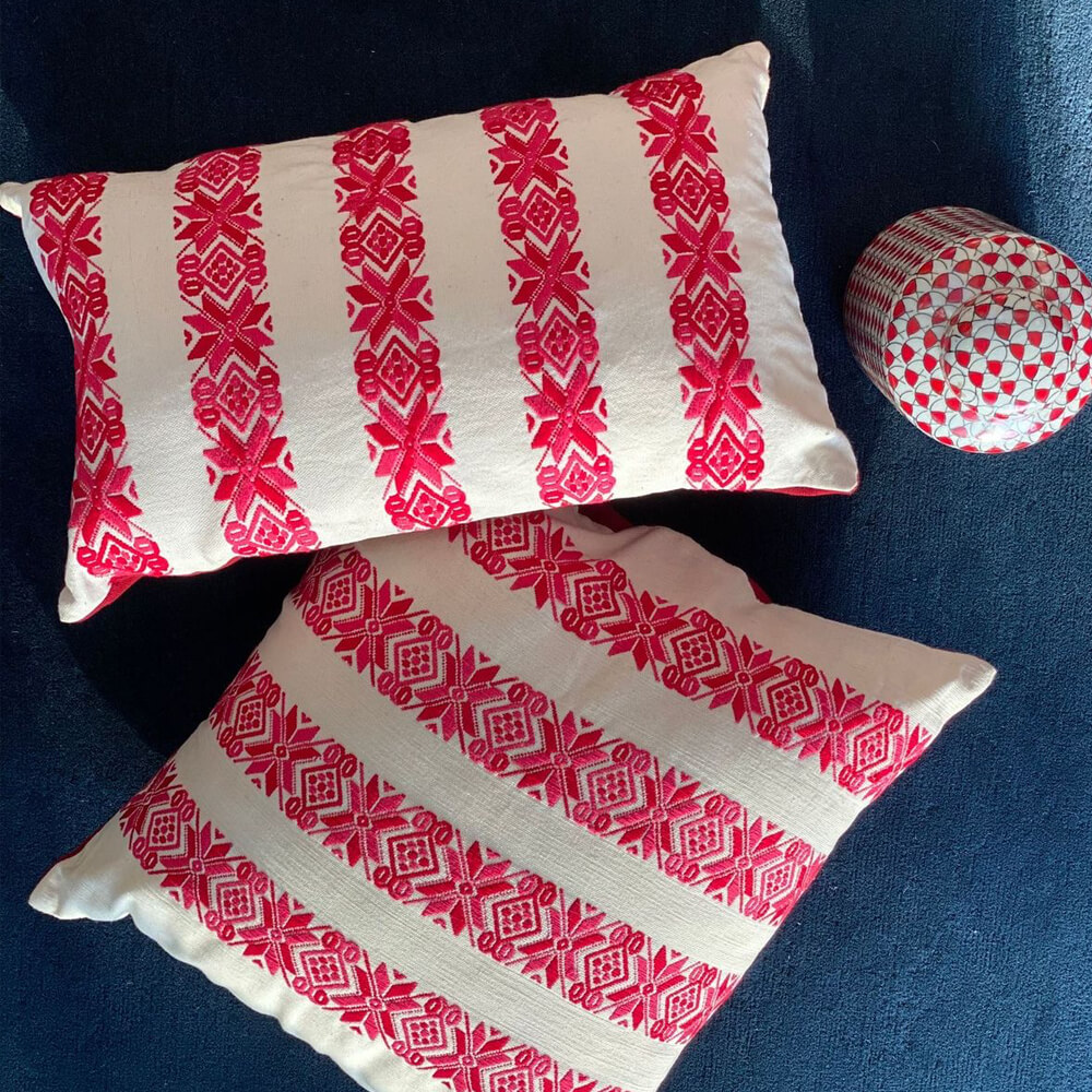 Red Stars Square Pillow Cover