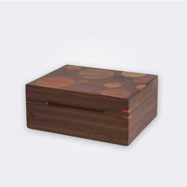 Dark wood tea box product picture.