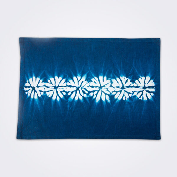 Indigo tie dye placemat set product photo.