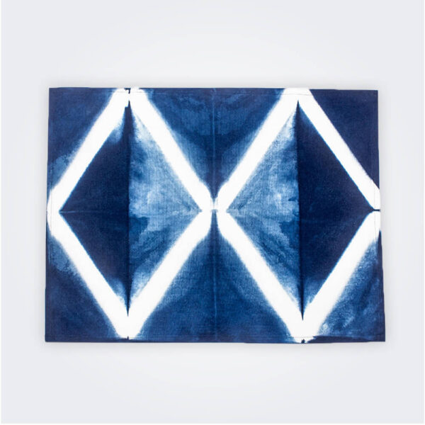 Indigo tie dye placemat product picture.