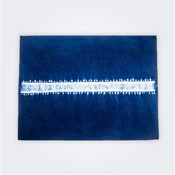 Indigo tie dye placemat set product picture.