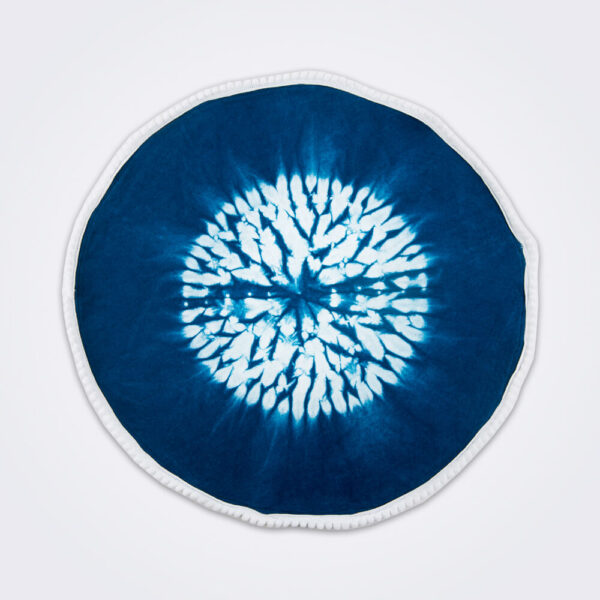 Indigo tie dye round placemat set product photo.