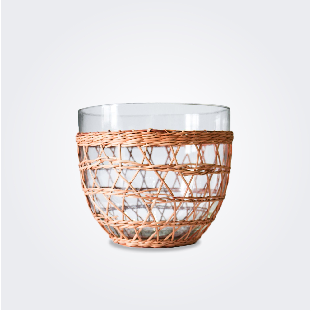 Large rattan cage salad bowl product picture.