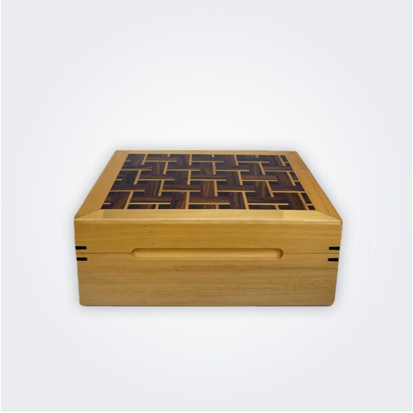 Light wood tea chest product picture.
