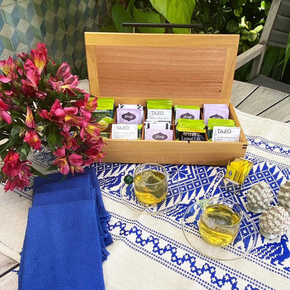 Mosaic wood tea box with lid 3