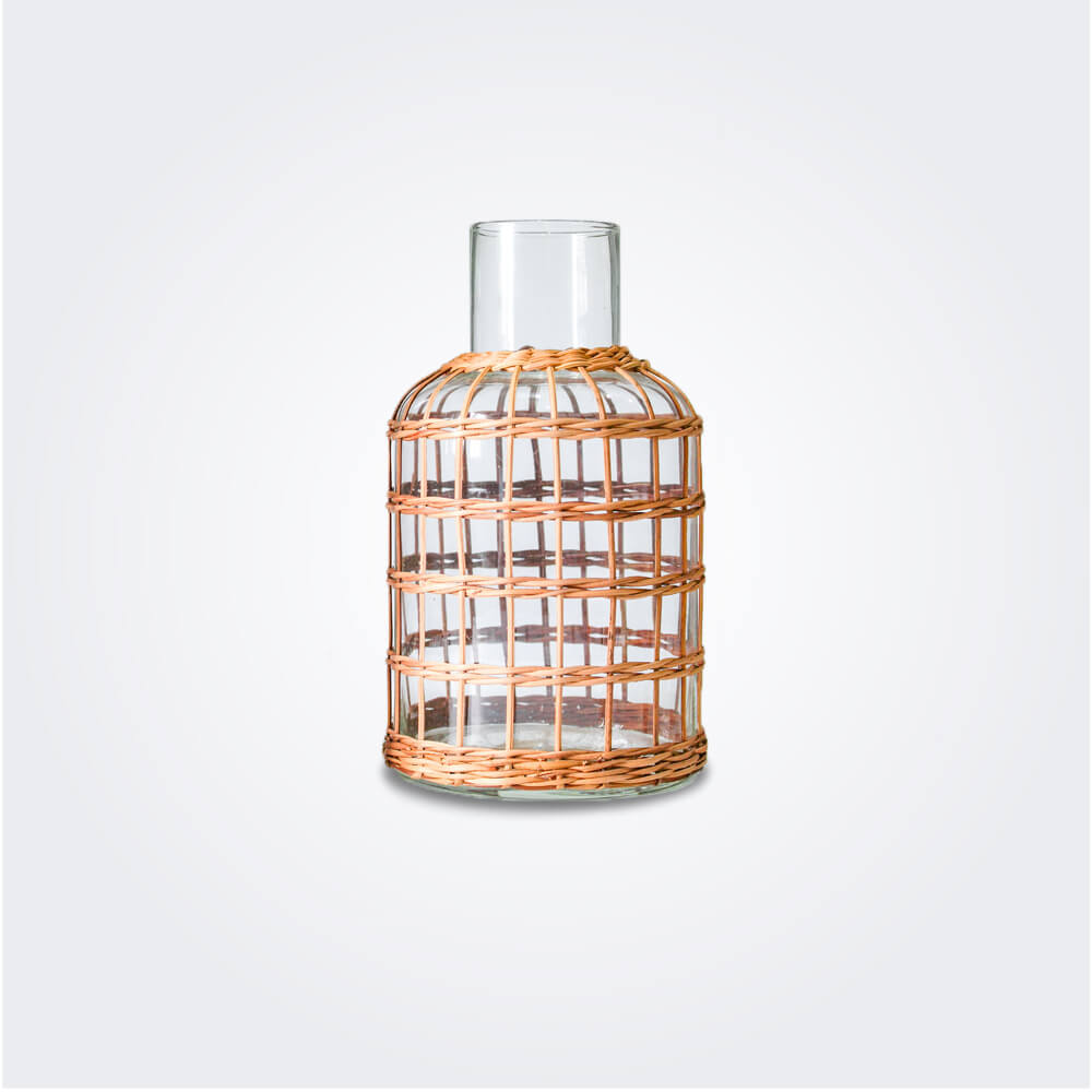 Rattan cage carafe vase product picture.