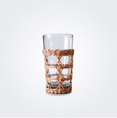 Rattan Cage Glass Highball Set