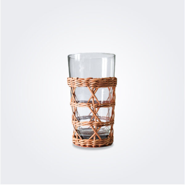 Rattan cage glass highball set product picture.