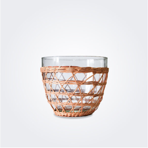 Rattan cage salad bowl product picture.