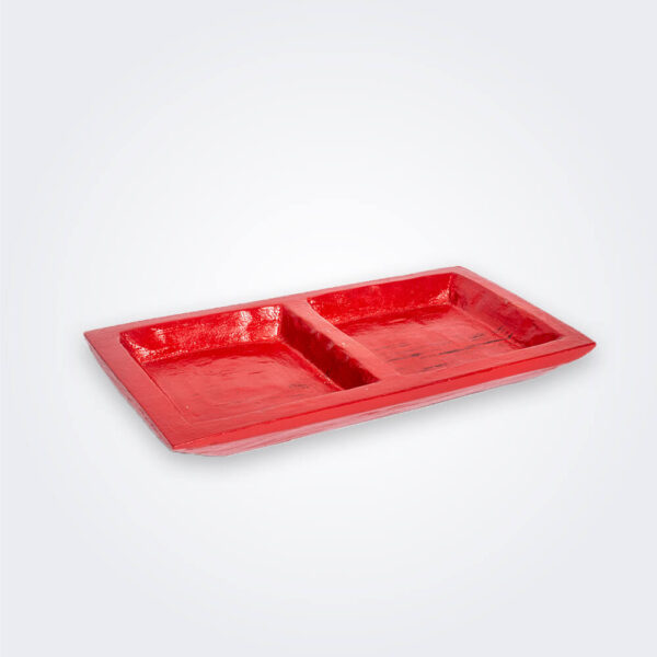 Red wood tray product picture.