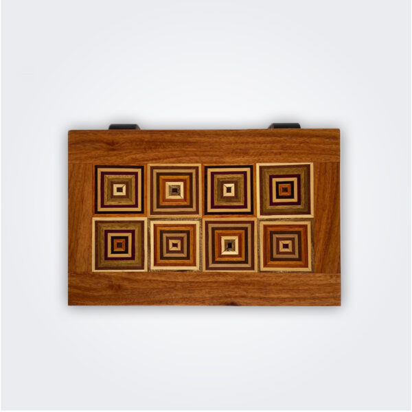Squares pattern wooden box product picture.