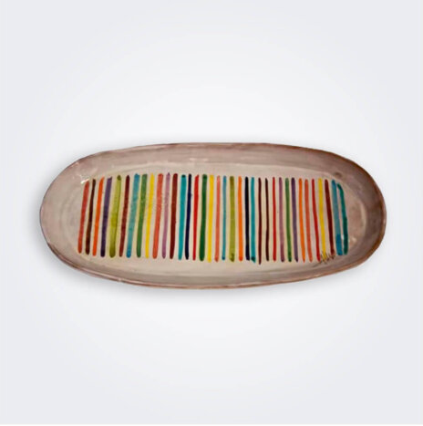 Striped Ceramic Oval Tray