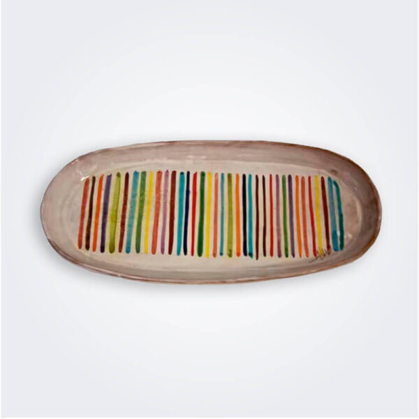 Striped ceramic oval tray product picture.