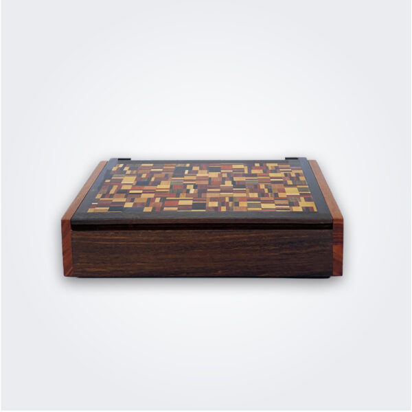 Weaved pattern wooden box product picture.