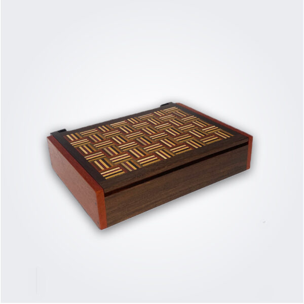 Wooden storage box product picture.