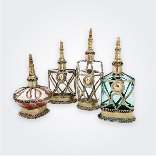 Colored perfume bottle set product picture.