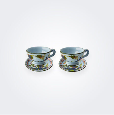 Blue Majolica Coffee Cup Set