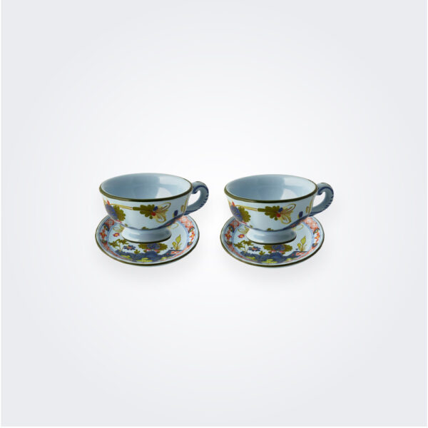 light blue Majolica coffee cup set.