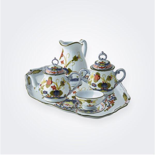 Blue Majolica tea service on gray background.
