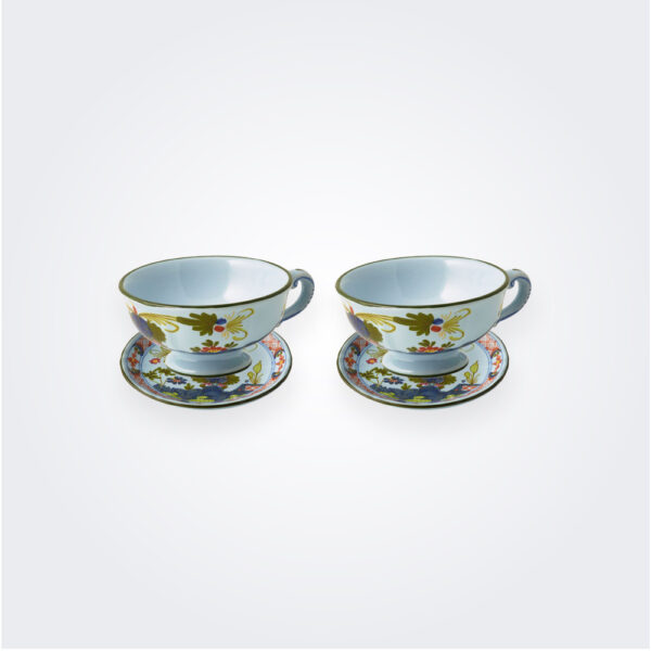 Blue majolica teacup set product picture.