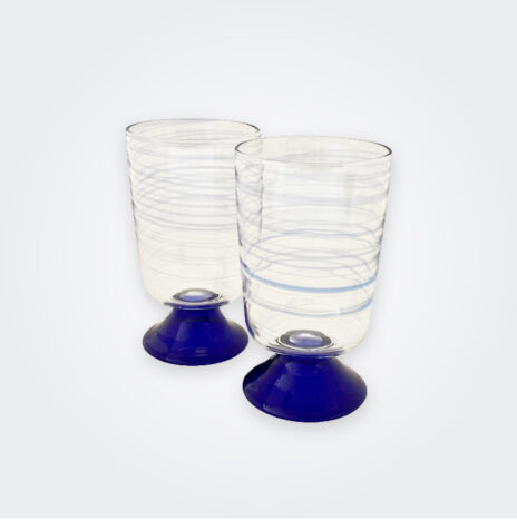 Blue Spiral Water Glass Set