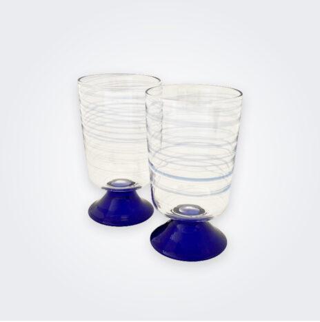 Blue Spiral Water Glass Set