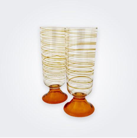 Amber Spiral Flute Glass Set