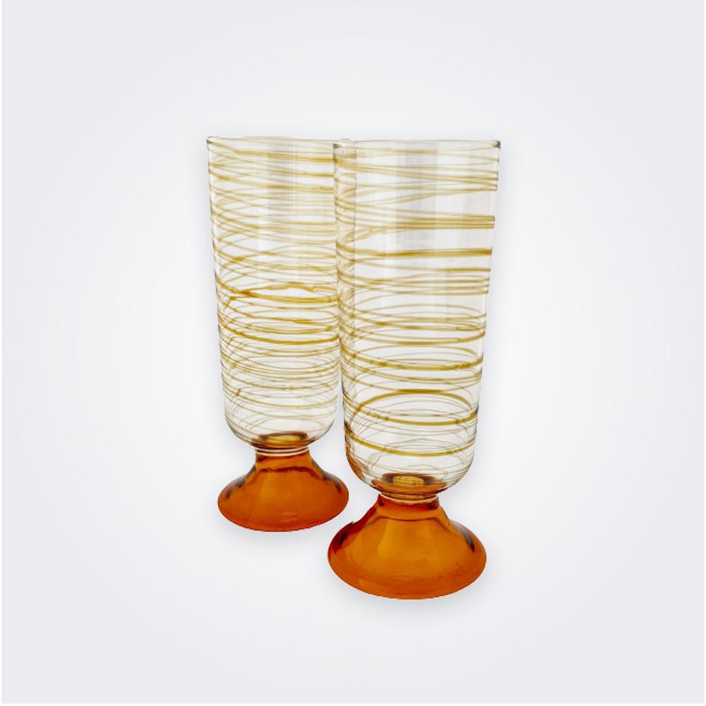 Amber-spiral-flute-glass-set