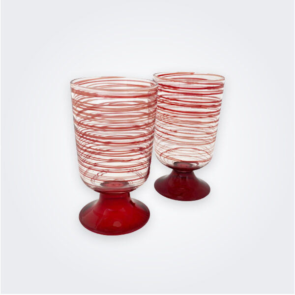 Scarlet spiral wine glass set product picture.