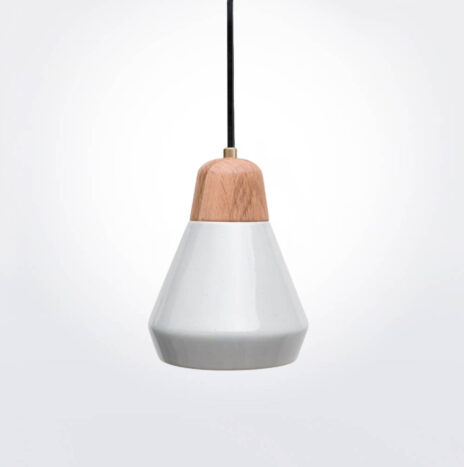 White Ceramic and Wood Pendant Lamp