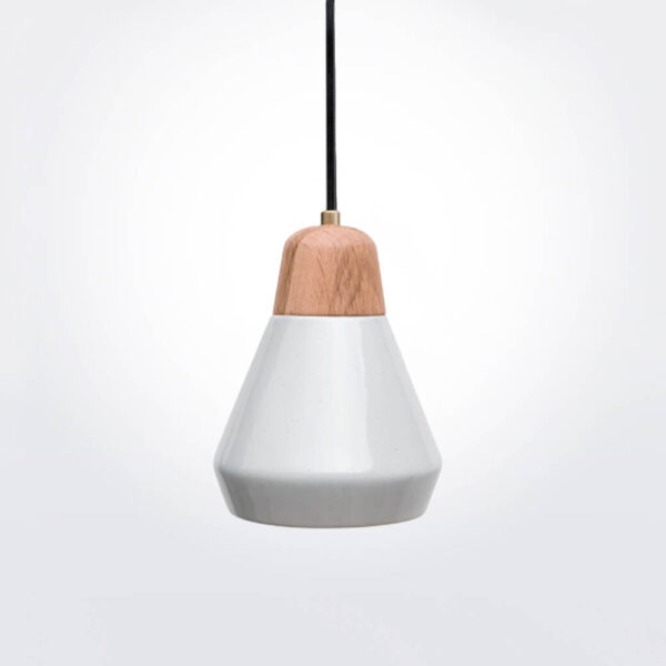 White Ceramic and Wood Pendant Lamp product picture.
