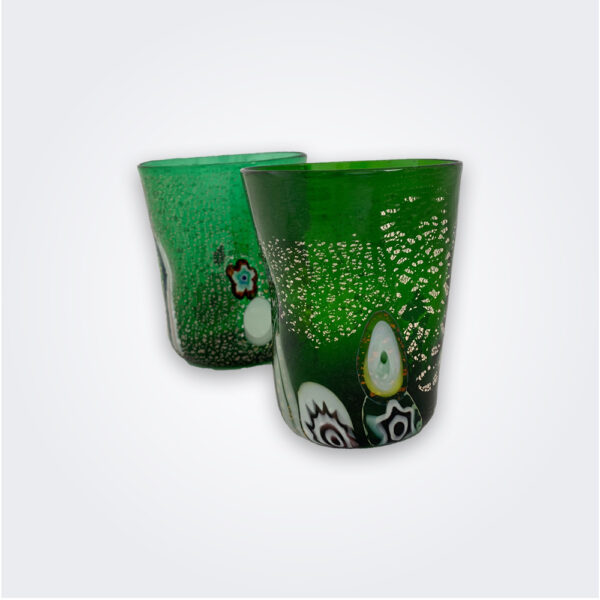 Green murano glass set product picture.