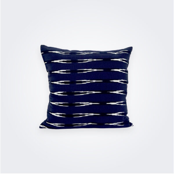Blue Ikat square pillow cover product picture.