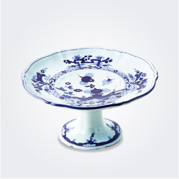 Blue Majolica fruit stand product picture.