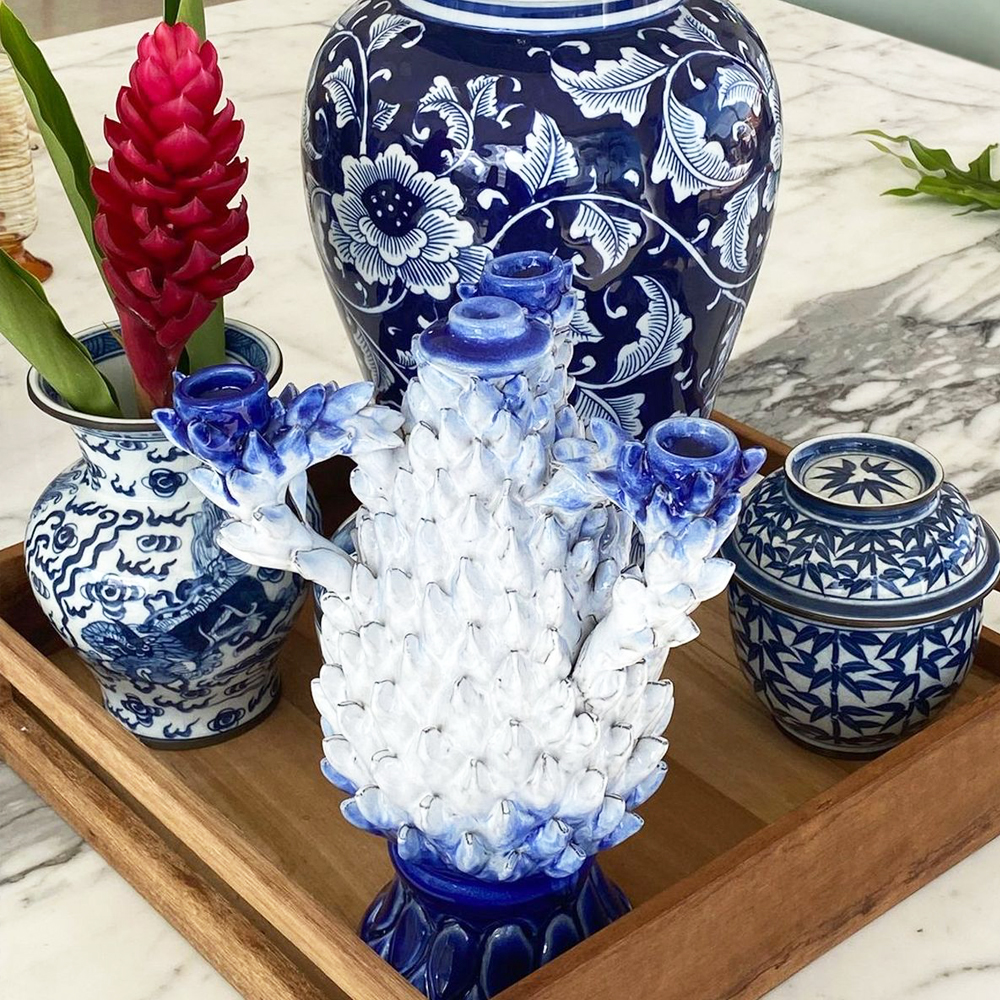 Blue & White Pineapple Candle Holder 004