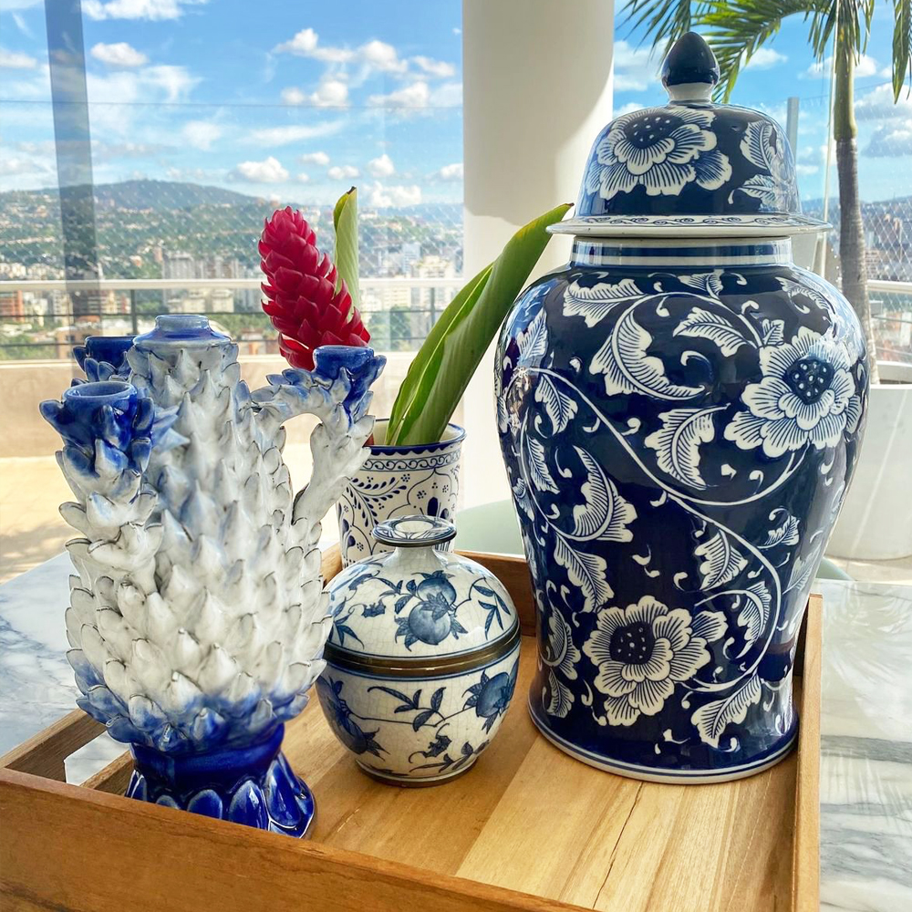 Blue & White Pineapple Candle Holder 006