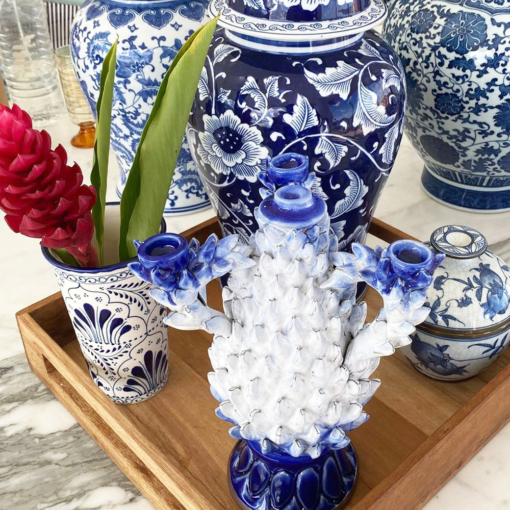 Blue & White Pineapple Candle Holder 010
