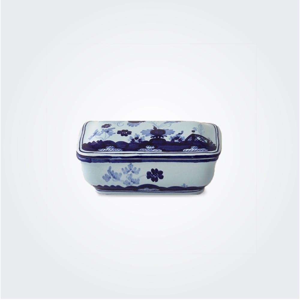 Blue majolica soap box