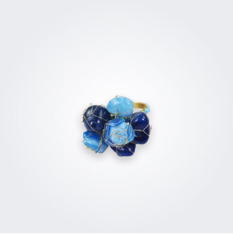 Blue Stones Napkin Ring Set