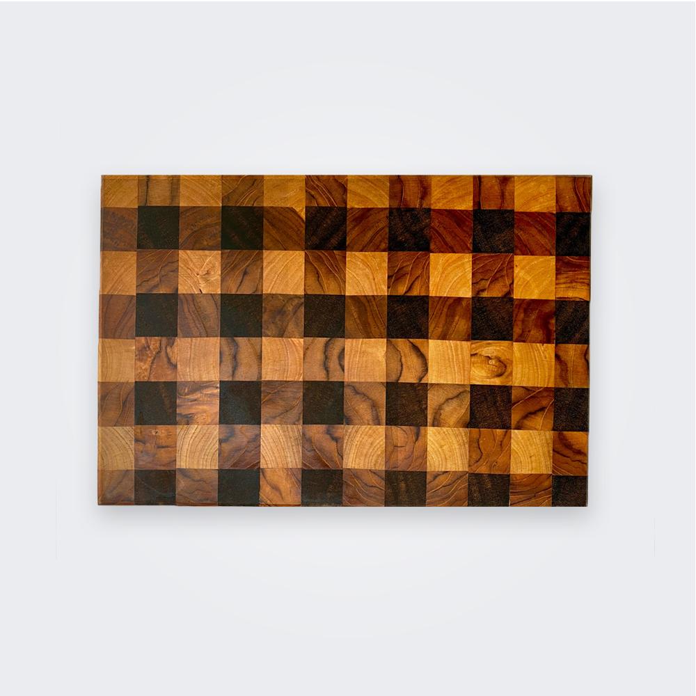 Gingham wood cutting board