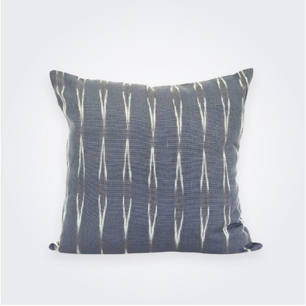 Gray Ikat square pillow cover product picture.