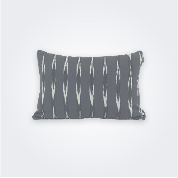 Gray ikat lumbar pillow cover product picture.