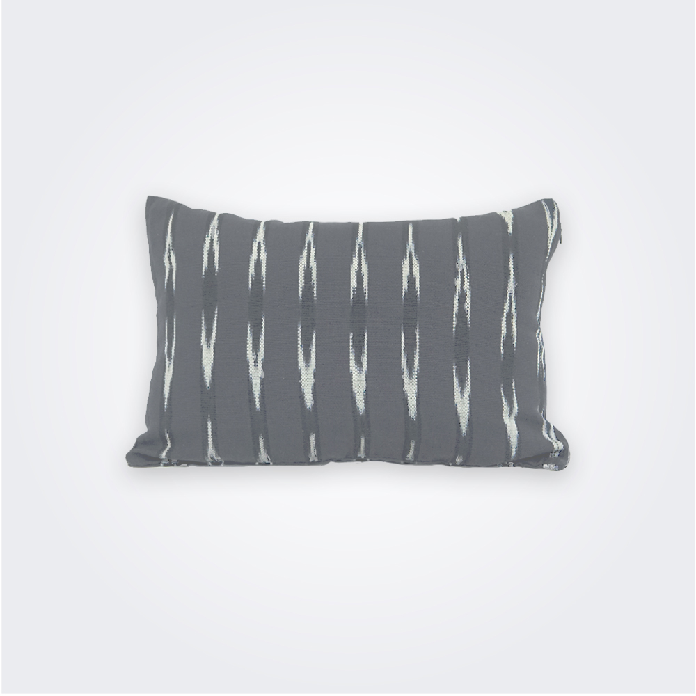 Gray ikat lumbar pillow cover 1