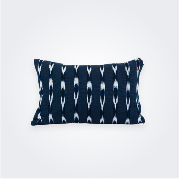 Indigo Ikat lumbar pillow cover product picture.
