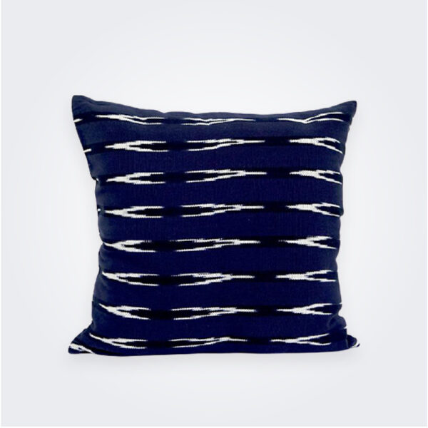 Indigo Ikat square pillow cover product picture.